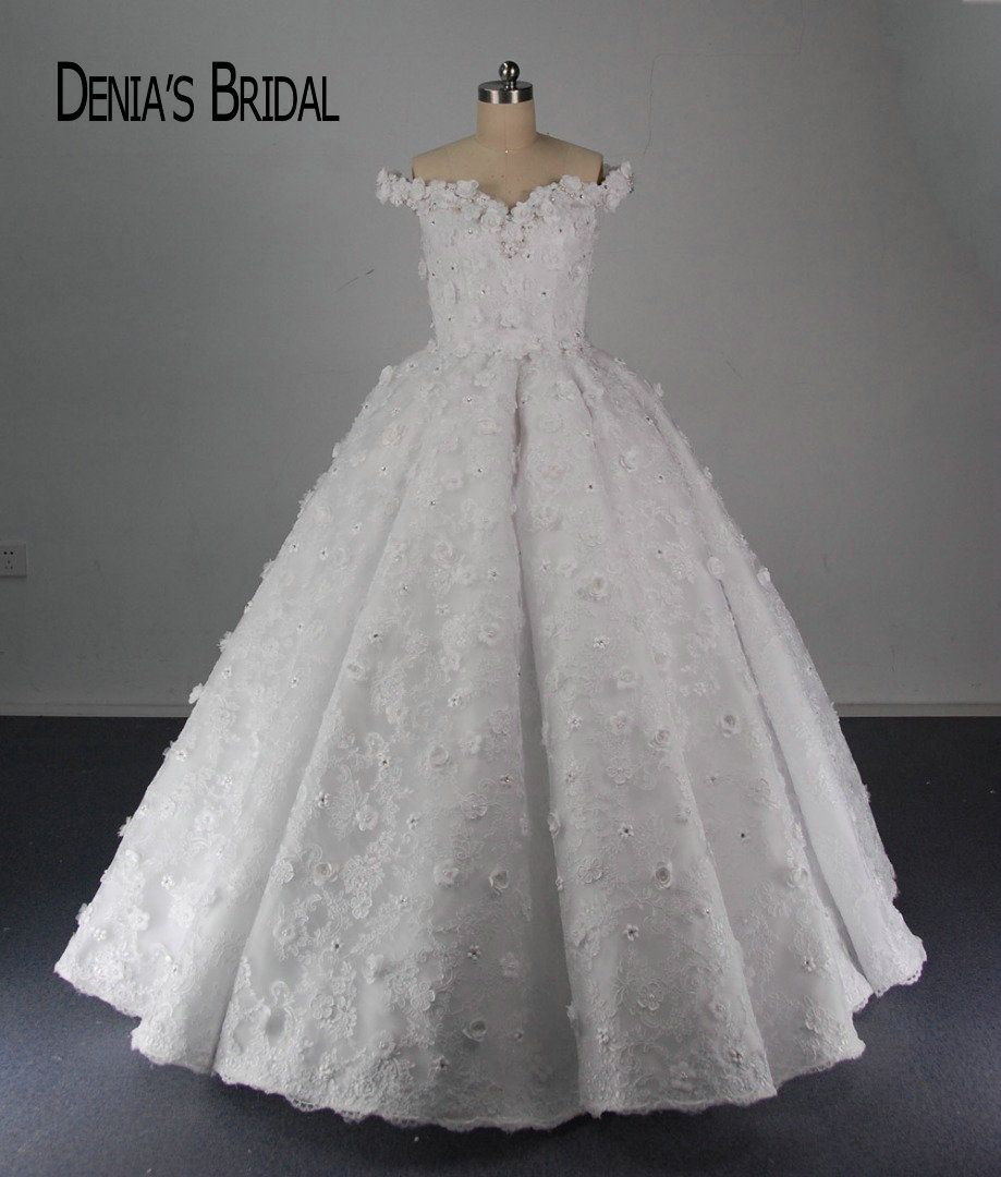 Real Puffy Pleated Wedding Dresses A Line Sweetheart Neck Applique Flowers Floor Length Bridal Gowns