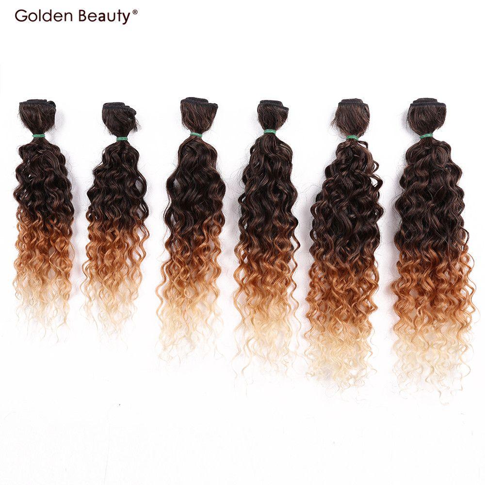 14-18 pouce Jerry Bouclés Synthétique Armure de Cheveux Ombre Couleur Coudre dans les Cheveux Extensions Un pack full tête (6 pcs/pack) D'or Beauté
