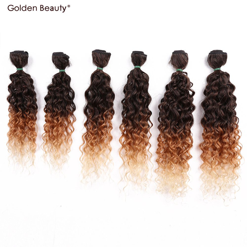 14-18inch Jerry Curly Synthetic Hair Weave Ombre Color Sew in Hair Extensions One pack full head (6pcs/pack)Golden Beauty
