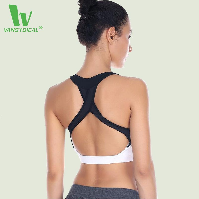 VANSYDICAL Frauen Sexy Rückseite Sport-Bh Training Jogging Push-up der Frauen Stoßfest Lauf Fitness Gym Yoga Bh Anti-schweiß Top