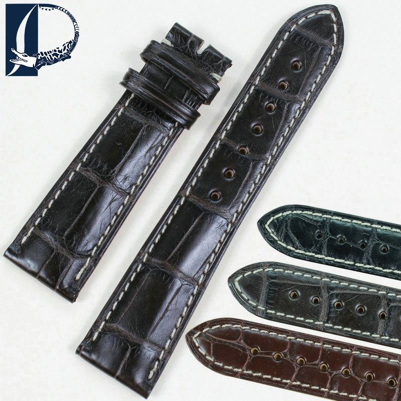 Pesno Suitable for Longines Master Collection Black Brown Dark Brown with white thread Alligator Skin Leather Watch Strap