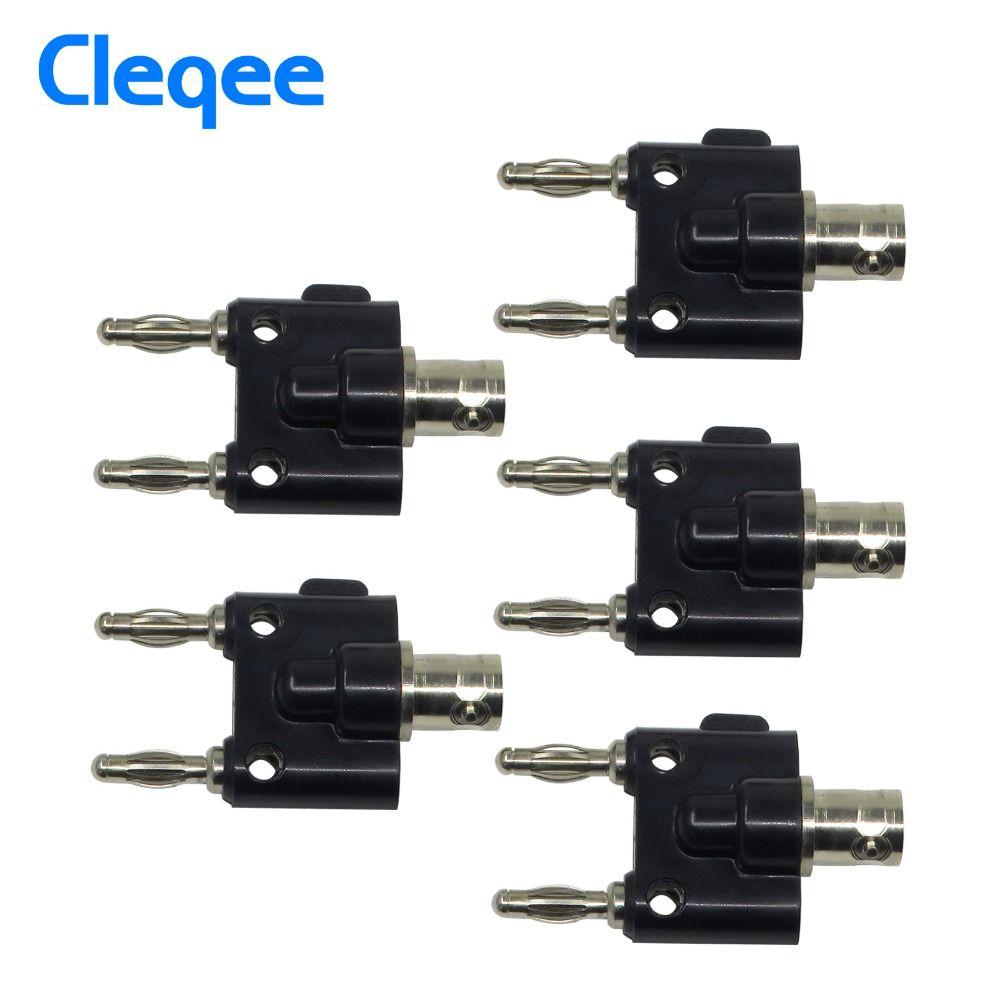 Cleqee P7006 5 pièces Adaptateur BNC Femelle à Deux Banane 4mm Reliure Connecteur Mâle