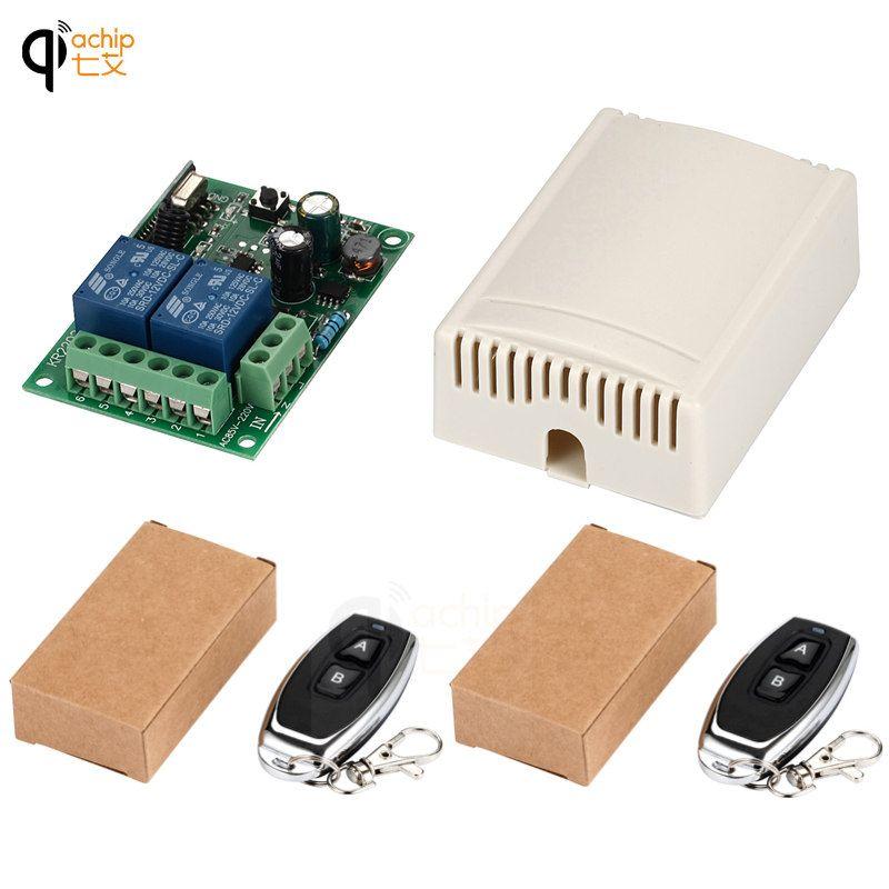 433 mhz Sans Fil Universel Télécommande Commutateur AC 220 v 110 v 120 v 2CH Relais Récepteur Module et 2 pcs RF 433 mhz Télécommandes