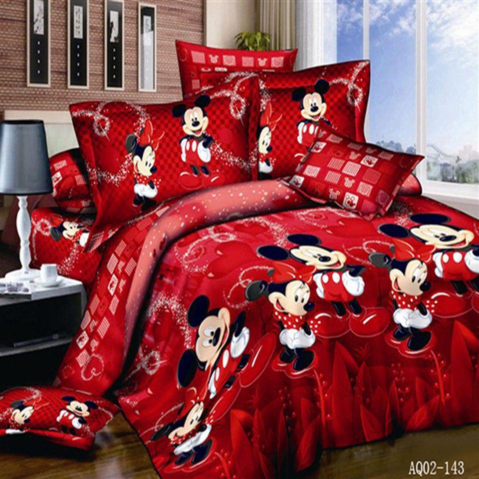 100% coton couleur rouge Mickey Mouse couette/housse de couette drap plat double pleine reine roi taies doreiller en lin ensemble de literie 3 pièces/4 pièces