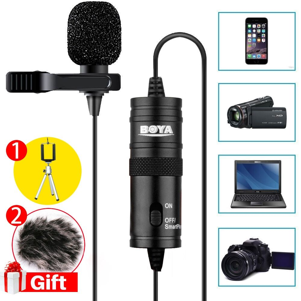 Ulanzi BY-M1 Label Lavalier Microphone 6M Boya 3.5mm Condenser Mic for Smartphones Dslr/Recorder/Camcorders/Free Windshield