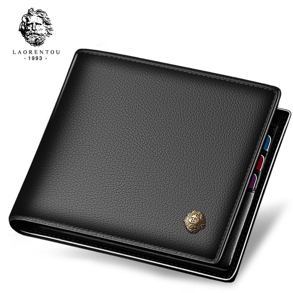LAORENTOU Wallet Men 100% Genuine Leather Short Wallet Vintage Cow Leather Casual Man Wallets Purse Standard Card Holders