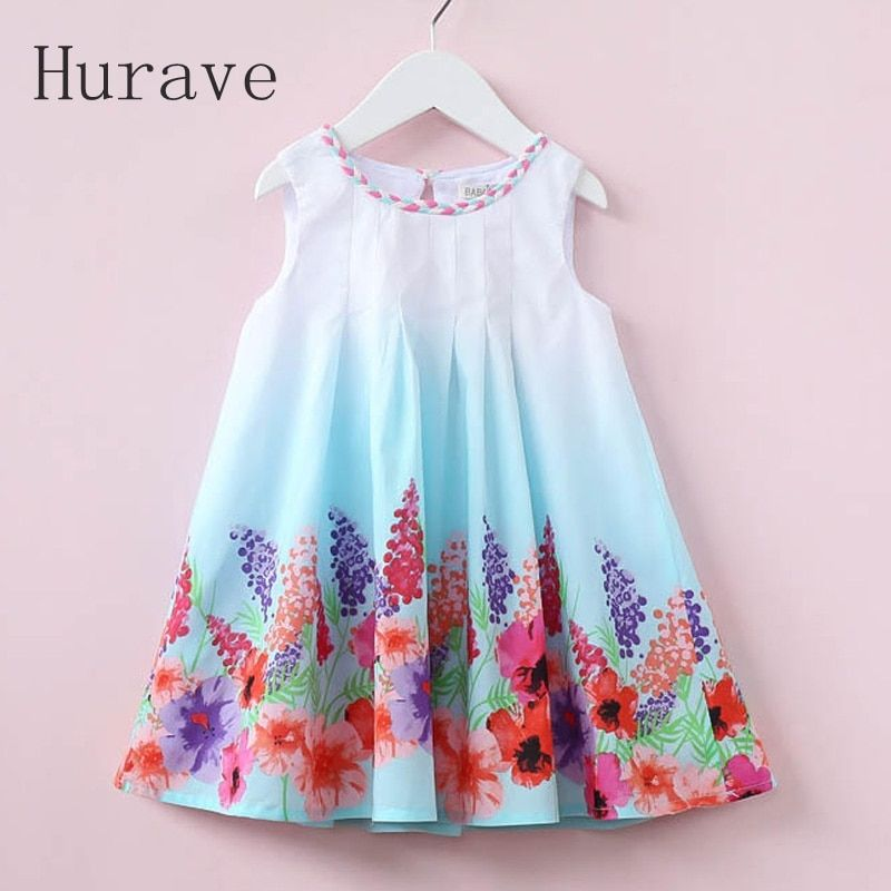 Hurave 2017 Casual Style Summer Children Dress For Kids Floral Print Dress Girls Sleeveless Princess Vestidos Robe Fille
