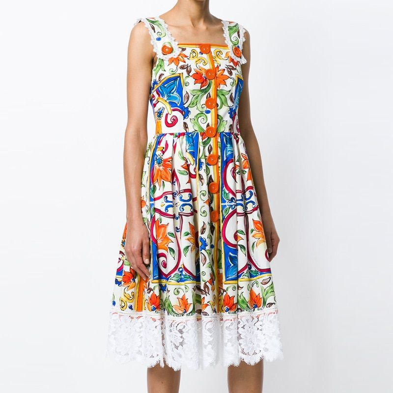 2018 Summer Bohemian Women Dress Sexy Strap Printed Runway Lace Patchwork A-line Female Dresses Mid Long Holidays Beach Fashion