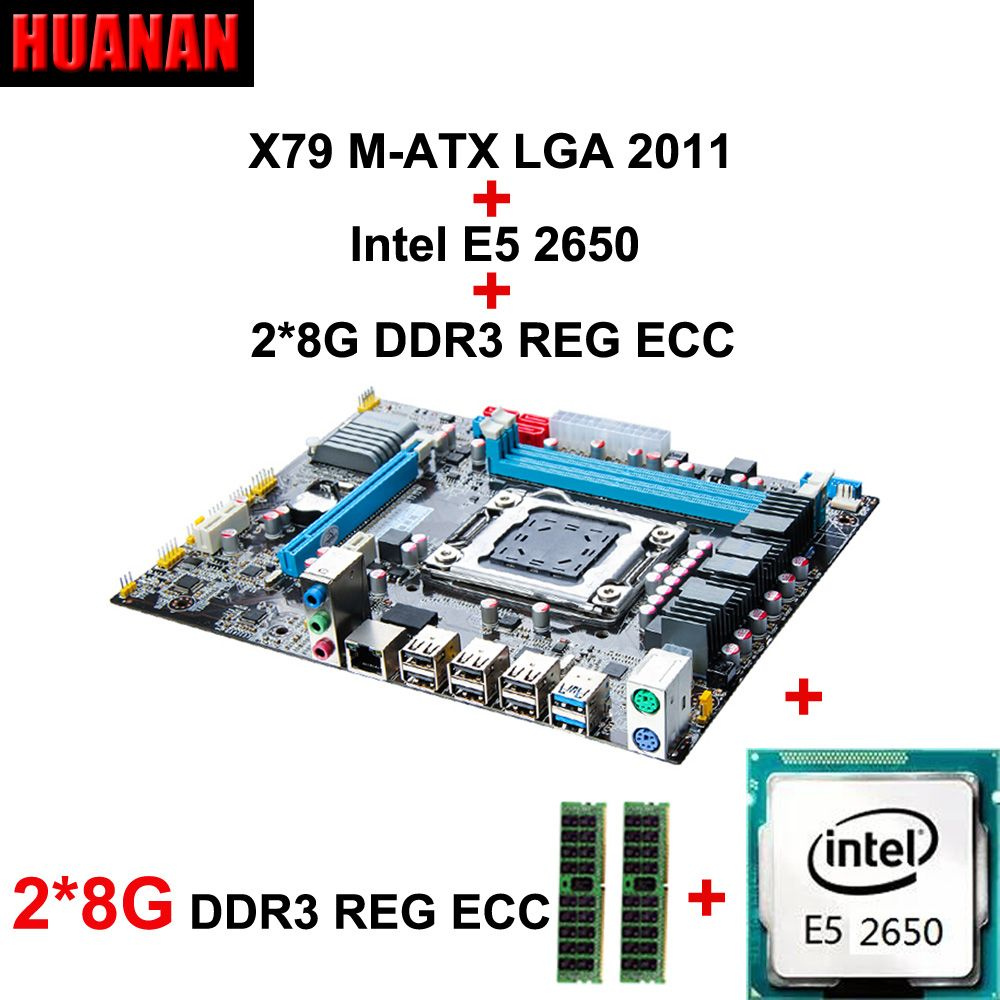 New HUANAN X79 motherboard CPU combos Xeon E5 2650 CPU RAM 16G(2*8G) DDR3 REG ECC double channels all are tested before shipping