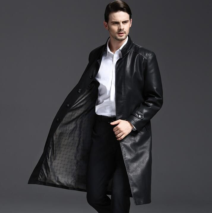 Stand collar 2018 autumn long leather coats men casual double breasted coat mens leather trench coats black fashion M - 3XL
