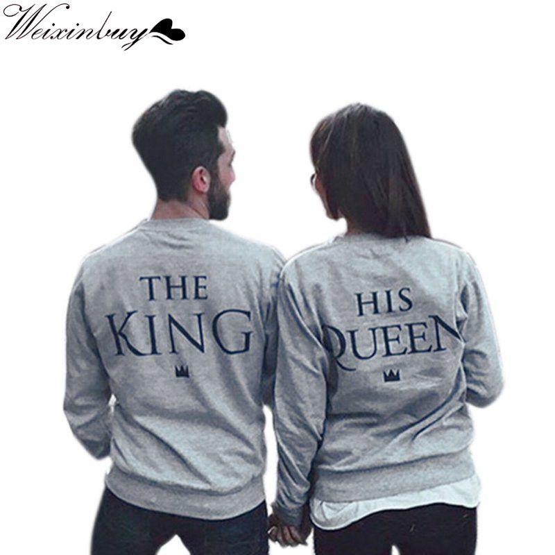 WEIXINBUY Spring Letters Couples Lovers Sweatshirts Print KING QUEEN Long Sleeve Hoodies Men&Women Pullovers Stylish
