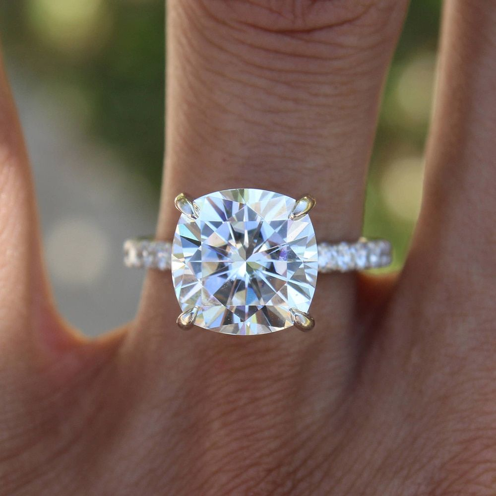3.5 Carat ct 11mm Cushion Cut Engagement&Wedding Moissanite Diamond Ring Double Halo Ring Genuine 14K 585 White Gold