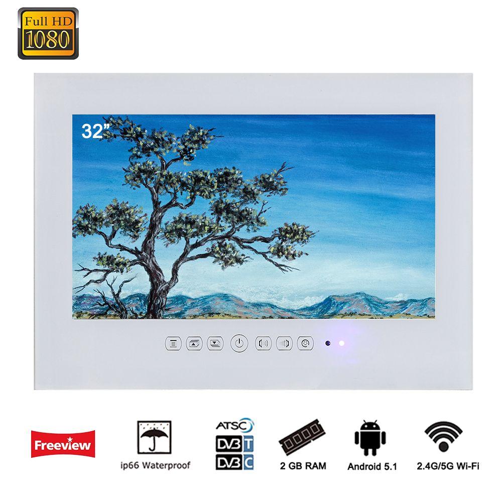 Souria 32 zoll Android 5.1 Smart WiFi 1080 p Weiß/Schwarz Bad TV Dusche Zimmer IP66 Wasserdichte Internet LED TV