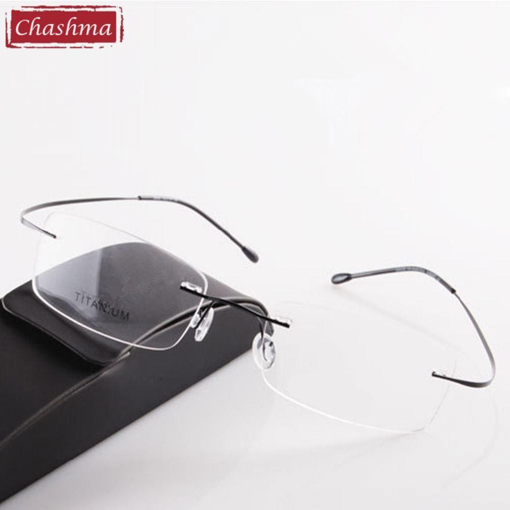 Chashma marque titane sans monture lunettes de lecture lunettes Ultra léger myopie lunettes optiques Prescription lunettes de lecture