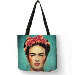 Hogar plegable de viaje bolsa de almacenamiento alimentos ropa Frida Kahlo impresión Lino shoping Bolsas reutilizable bolso Bolsos de hombro