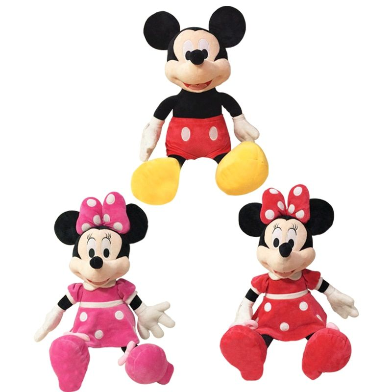 1 pcs/lot 2016 vente chaude de haute qualité Mickey ou minnie souris en peluche poupée pour anniversaire cadeau de noël bébé sommeil jouets