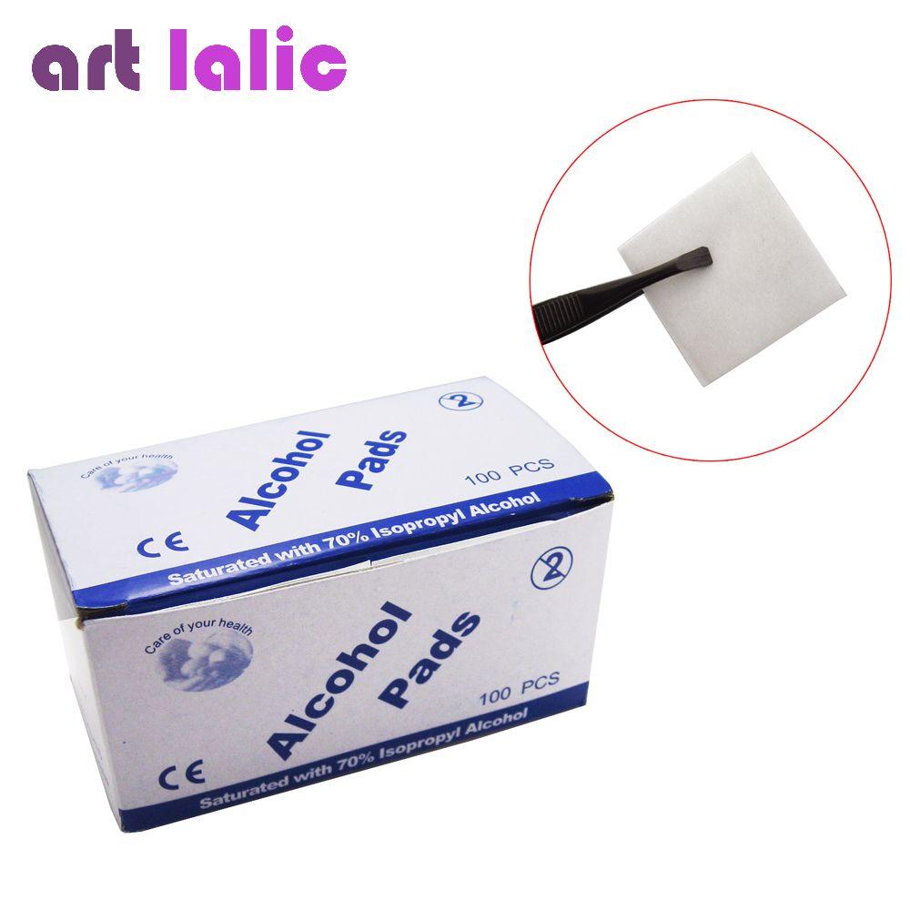 Artlalic 100 Teile/schachtel Alkohol Wischen Pad Nail art Medizinische Tupfer Beutel Antibakterielle Werkzeug Reiniger Entferner