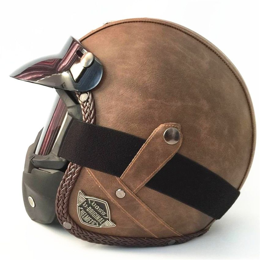 HOT sale Open Face Half PU Leather Helmet Moto Motorcycle Helmets vintage Motorbike Headgear Casque Casco For Harley helmet
