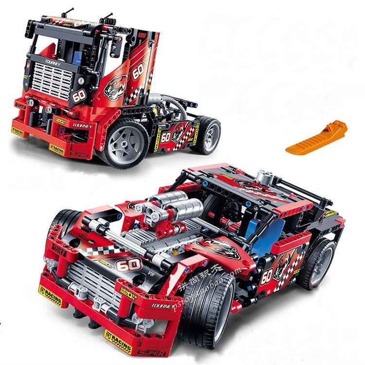 608 pcs Camion de Course De Voiture 2 Dans 1 Transformable Modèle Building Block Sets Decool 3360 DIY Jouets Compatible Avec Legoe technique