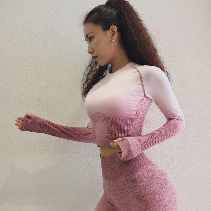 Femmes Ensemble De Yoga Gym Vêtements Ombre Sans Soudure Leggings + Recadrée Workout Shirts Costume de Sport Femmes À Manches Longues Remise En Forme Ensemble Actif porter