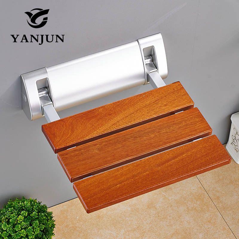 YANJUN Folding Chair Bath Shower Seat Wall <font><b>Mounted</b></font> Relaxation Shower Chair Solid Seat Spa Bench Saving SpaceBathroom YJ-2040