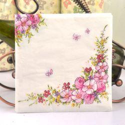 2018 flores de color rosa belleza diseño papel servilletas café & Party Tissue servilletas Decoupage decoración papel 33 cm * 33 cm 20 unids/pack/lot
