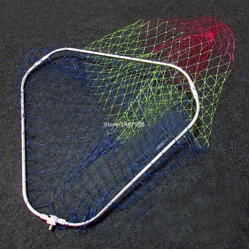 SAMS Fliegenfischen Kescher Trout Fish Saver Dreieckige Klapp Edelstahl Kopf Ring Rahmen und Tuck Brail Net (keine griff)