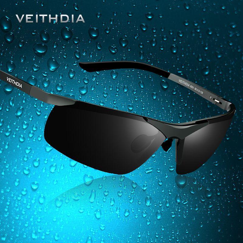 VEITHDIA Brand Designer Alumunum Men's Polarized UV400 Mirror Sunglasses Rimless Rectangle Mens Sun Glasses Eyewear For Men 6501