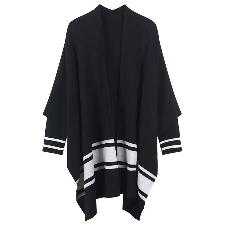 SRUILEE Loose Cloak Cardigan High-End 2018 New Autumn Winter Long Overcoat Women Cardigan Striped Coat Knit Tops Runway Outwear