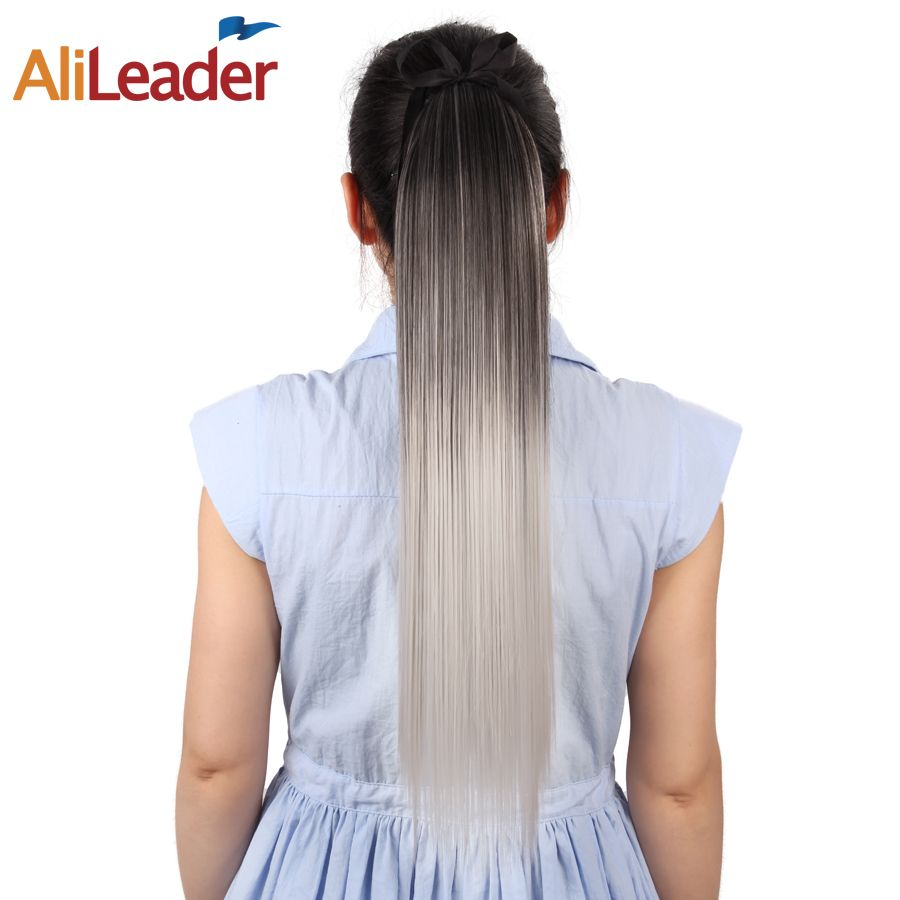 AliLeader Ombre Long Straight Clip In Ponytail Hair Extensions 100G 51CM High Temperature Synthetic Pony Tail Hair Overhead