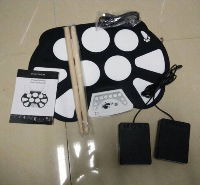 Music-S  Digital PC Desktop USB Silicon Foldable Roll Up Drum Pad Kit With Stick New Arrival