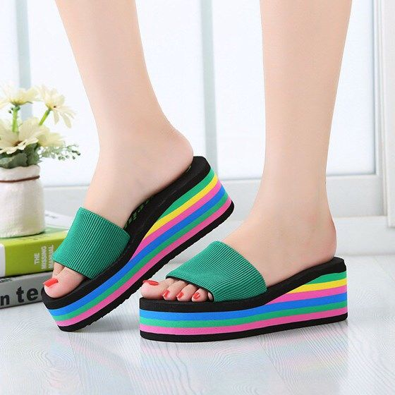 Mules Shoes Women Platform Sandals Summer Wedges Rainbow Shoes Ladies Beach Slippers Flip Flops Casual Slides Zapatos Mujer