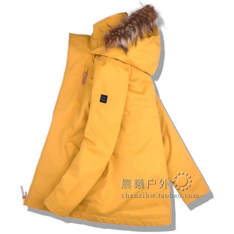Fur Hooded GSOU SNOW Women Ski Clothing Skiing Jacket Snowboard Coat Windproof Waterproof Outdoor Sport Wear Female Winter Coat