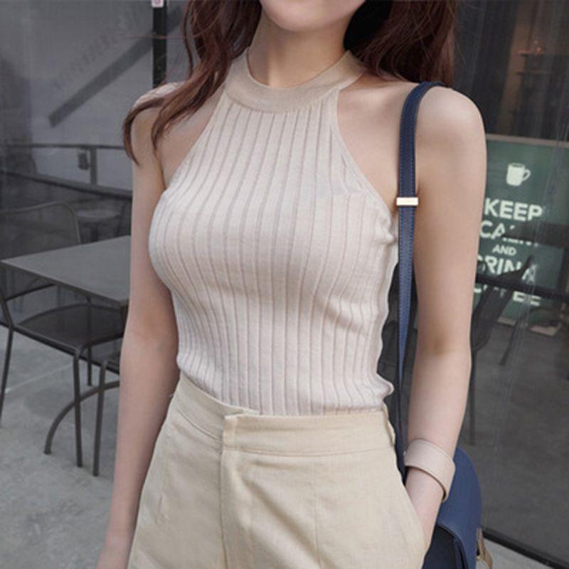 Sexy recadrée recadrée hauts femmes vêtements 2018 été hors épaule débardeur licou tricoté coton femmes sans manches Vetement Femme