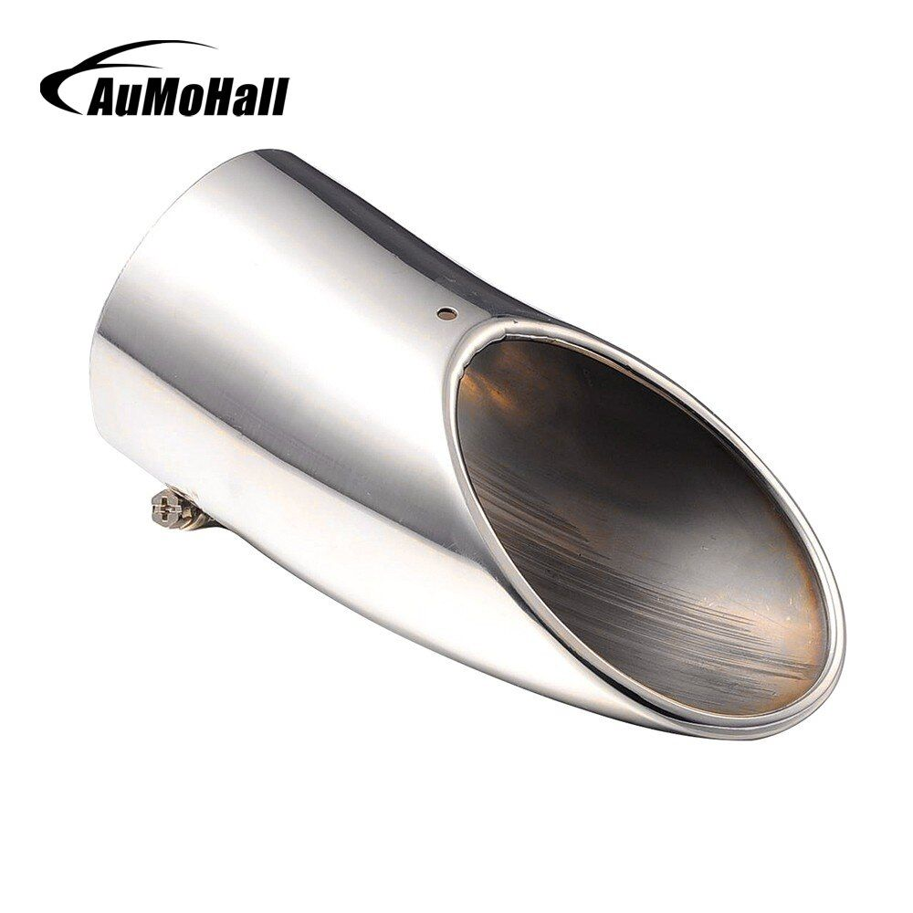 AuMoHall Silver Curved Car End Exhaust Trim Tail Pipe Tip Exhaust Systems Car-styling Accessories