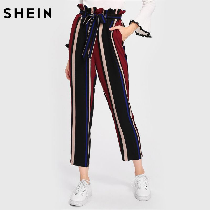 SHEIN Pants Women Self Belted Frilled Waist Striped Pants Elastic Waist Trousers Women Multicolor Mid Waist Elegant Pants