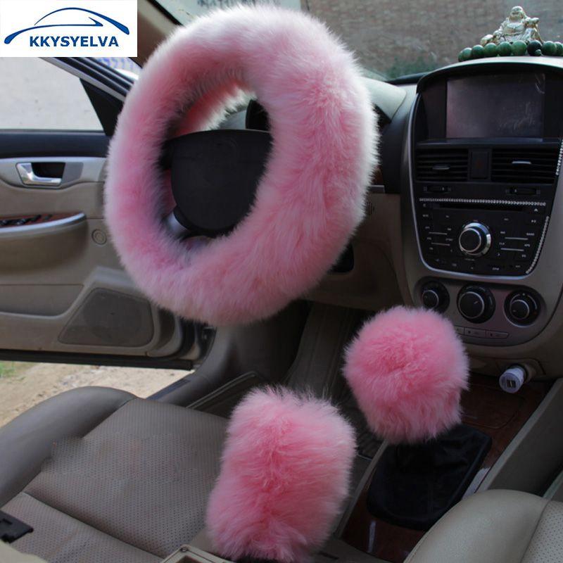 KKYSYELVA Fourrure Rose Chaud couverture De volant de Voiture D'hiver Noir Auto Accessoires Intérieurs 38 cm Automobiles Volant Couvre