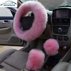 KKYSYELVA Fur Pink Warm Car steering wheel cover Winter Black Auto Interior Accessories 38cm Automobiles Steering-wheel Covers