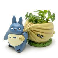 Мини мой сосед синий Тоторо Фигурки с сумкой цветочный горшок игрушка набор 2016 новинка японского аниме Тоторо фигурку украшения дома