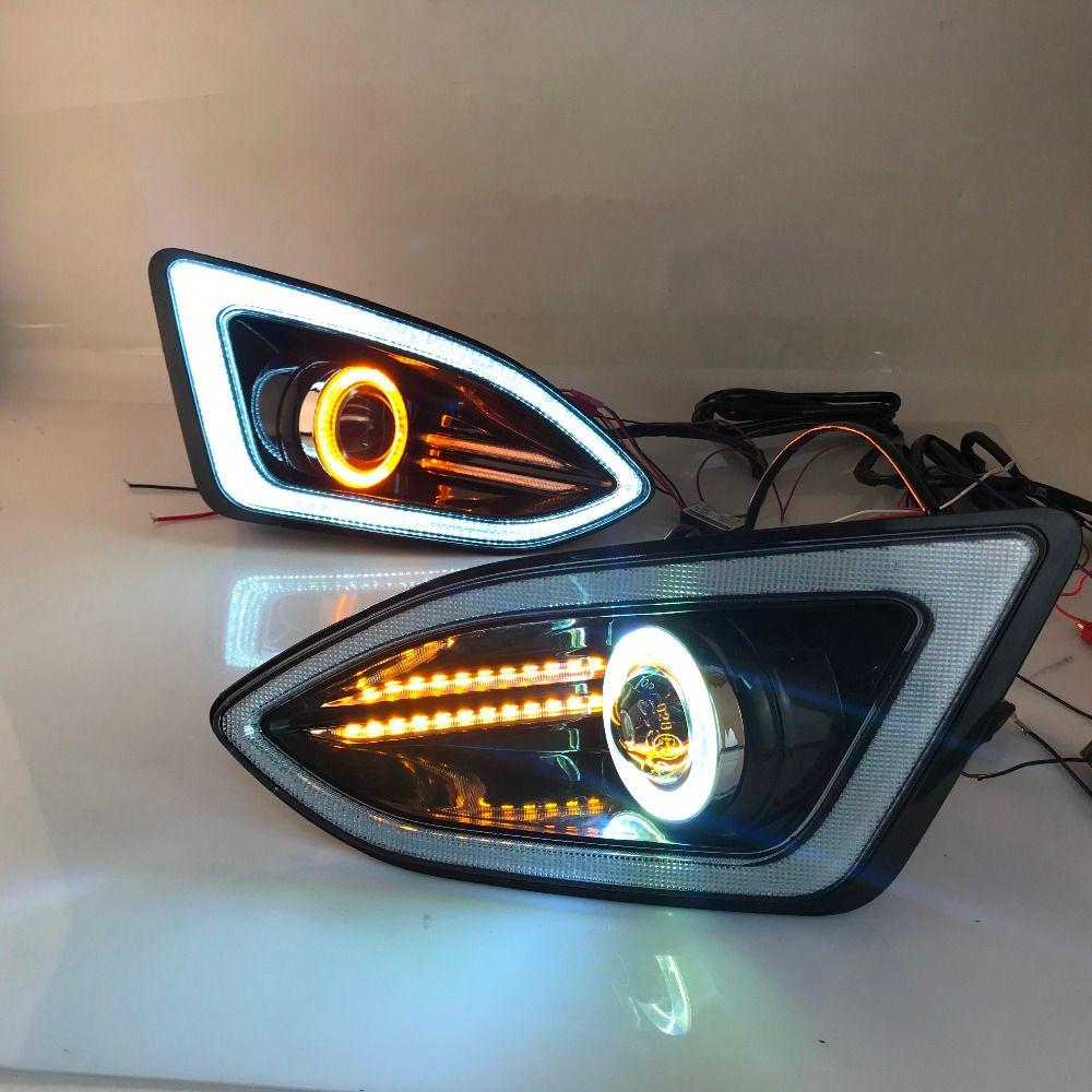 LED tagfahrlicht DRL + COB angel eye (6 farben) + projektor objektiv + halogen nebel lampe + blinker für ford edge 2015