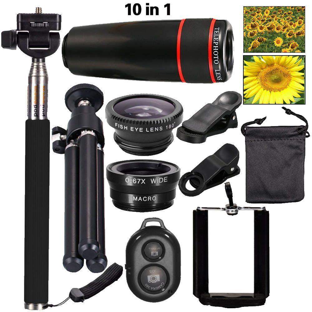 2016 neue 10in1 Handy-kamera-objektiv Kit 8x Teleobjektiv + Breite + Makroobjektiv + Fischauge + Selfie Stick Einbeinstativ + Mini Stativ