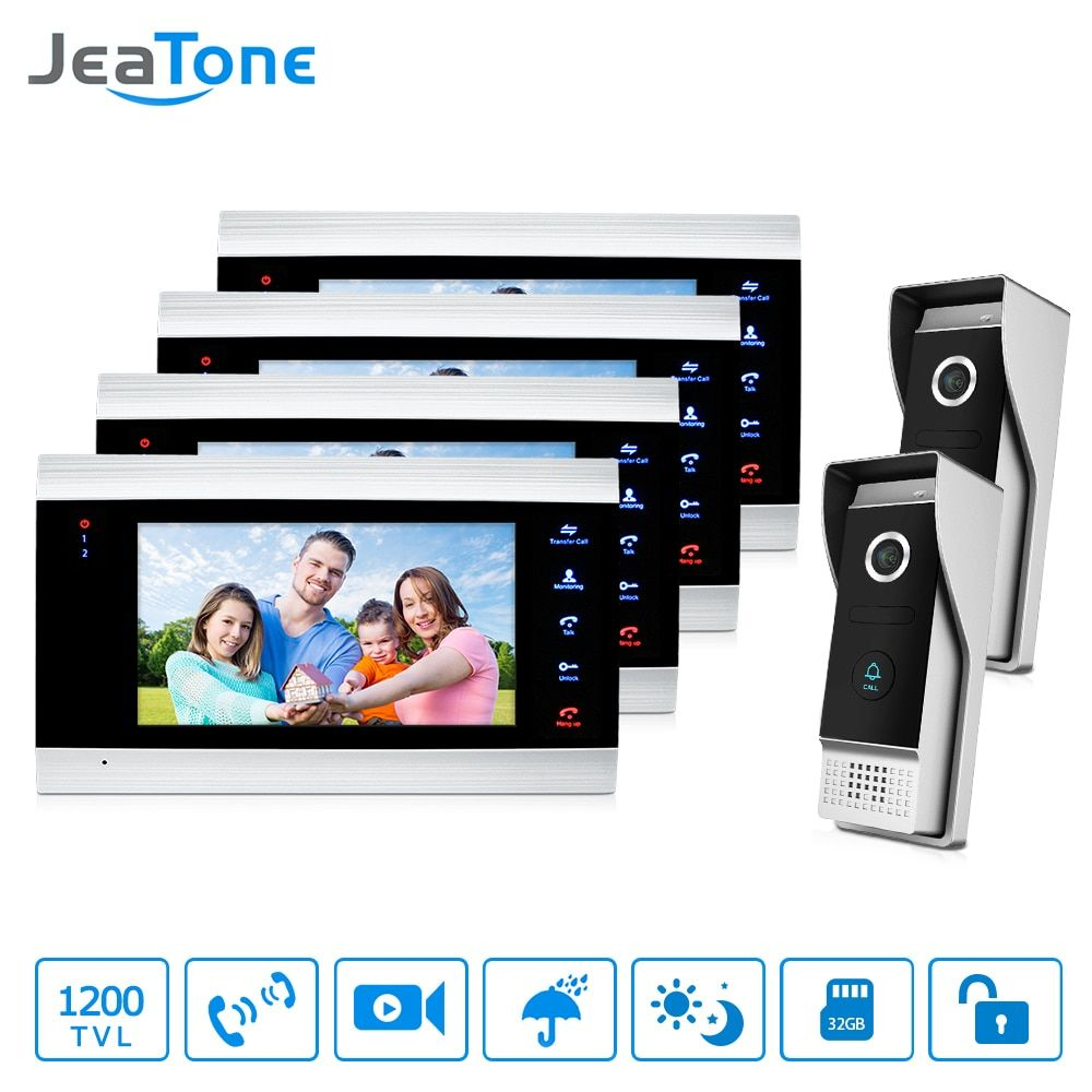 JeaTone 7 Inch Door Phone 4 color Video Doorbell monitor&2 High Resolution IR Night Outdoor Camera Home security Intercom System
