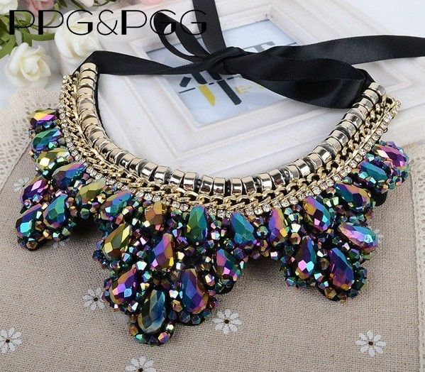 PPG&PGG 2017 New Multilayer Vintage Rhinestone Flower Black Long Rope Choker Collar Necklace For Women