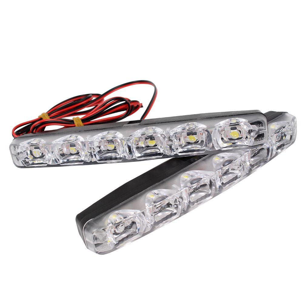 2pcs LED Car Daytime Running Lights DRL 6 LEDs DC 12V 6000K Automobile light Source Car Styling Waterproof