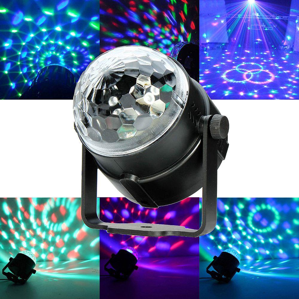 Mini contrôle rvb LED cristal magique rotatif scène de balle éclairage lampe ampoule fête Disco Club DJ lumière musique étoile spectacle