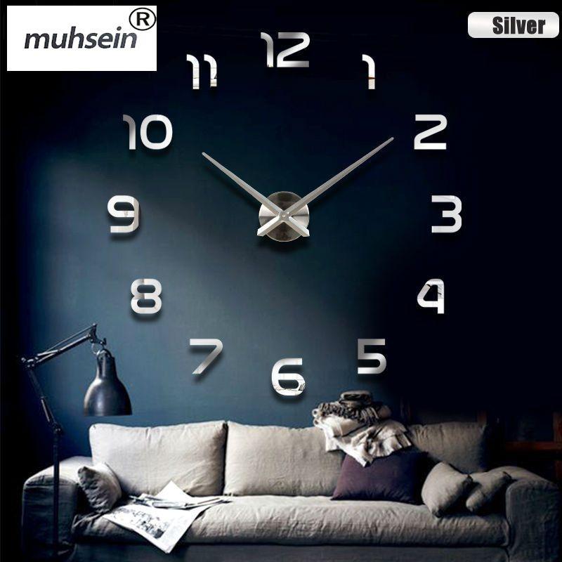 muhsein new clock watch Wall Clock diy wall clocks Acrylic mirror Home <font><b>Decoration</b></font> Living Room Quartz Needle Free Shipping