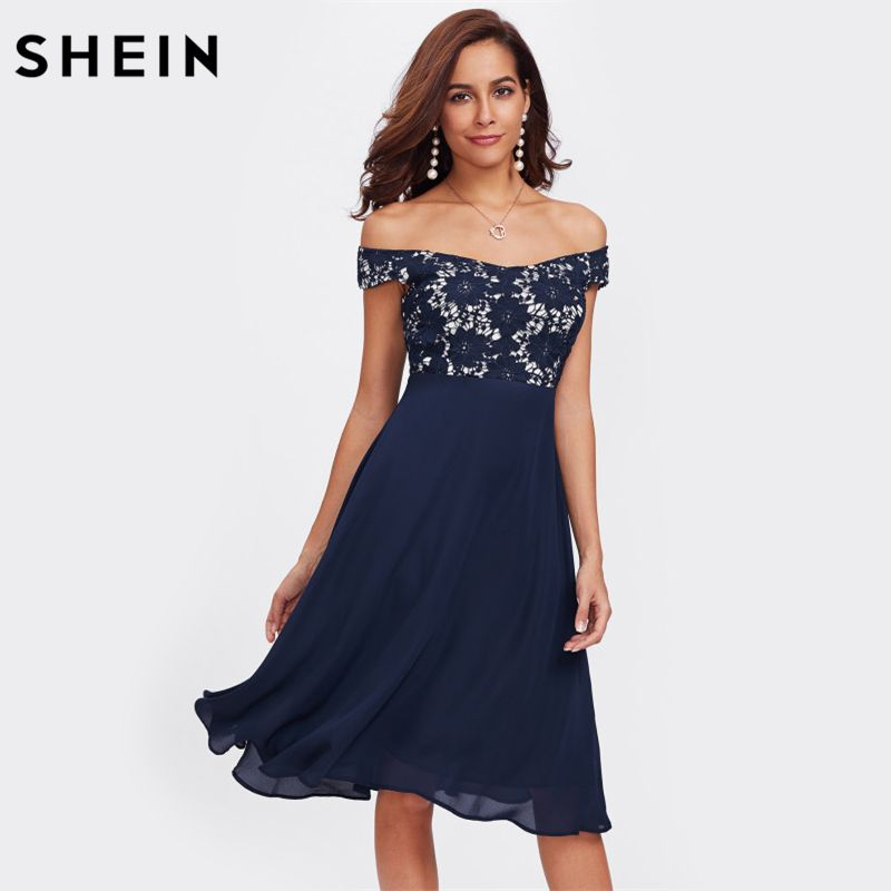 SHEIN Navy Elegant A-line Dresses Girl Guipure Lace Bodice Bardot Dress Off the Shoulder Short Sleeve Fit and Flare Party Dress