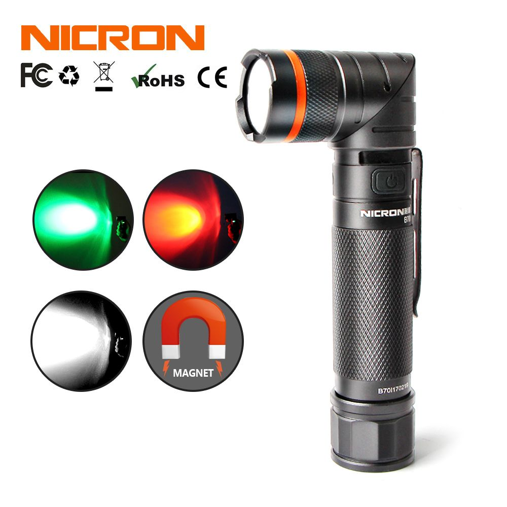 NICRON Magnet 90 Degree Rechargeable LED Flashlight Corner Ultra Bright High Brightness Waterproof 3 Modes 300LM LED Torch B70