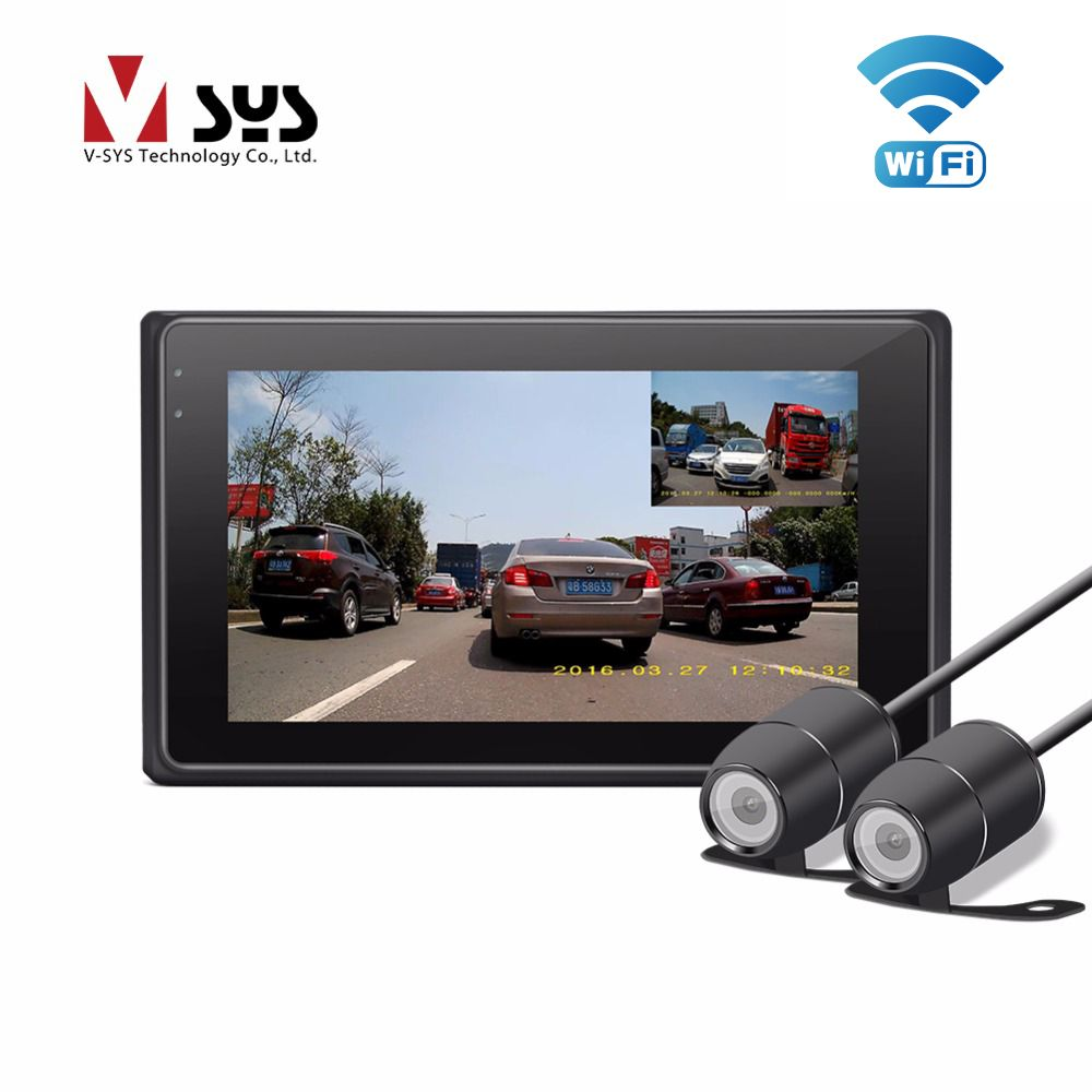 VSYS X2 Upgrade M2F WiFi H.264 2CH Motorcycle Camera Real 1080P Dual IP68 Lens Front & Rear View Motorcycle DVR Black Box, GPS