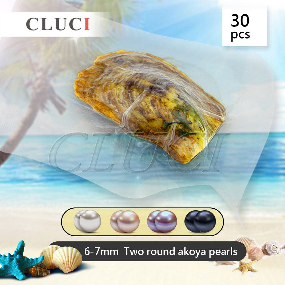 CLUCI 6-7mm AAA round Akoya twins pearls in one oyster with vacuum-packed 30pcs, surprising party pack, 60 pearls can get